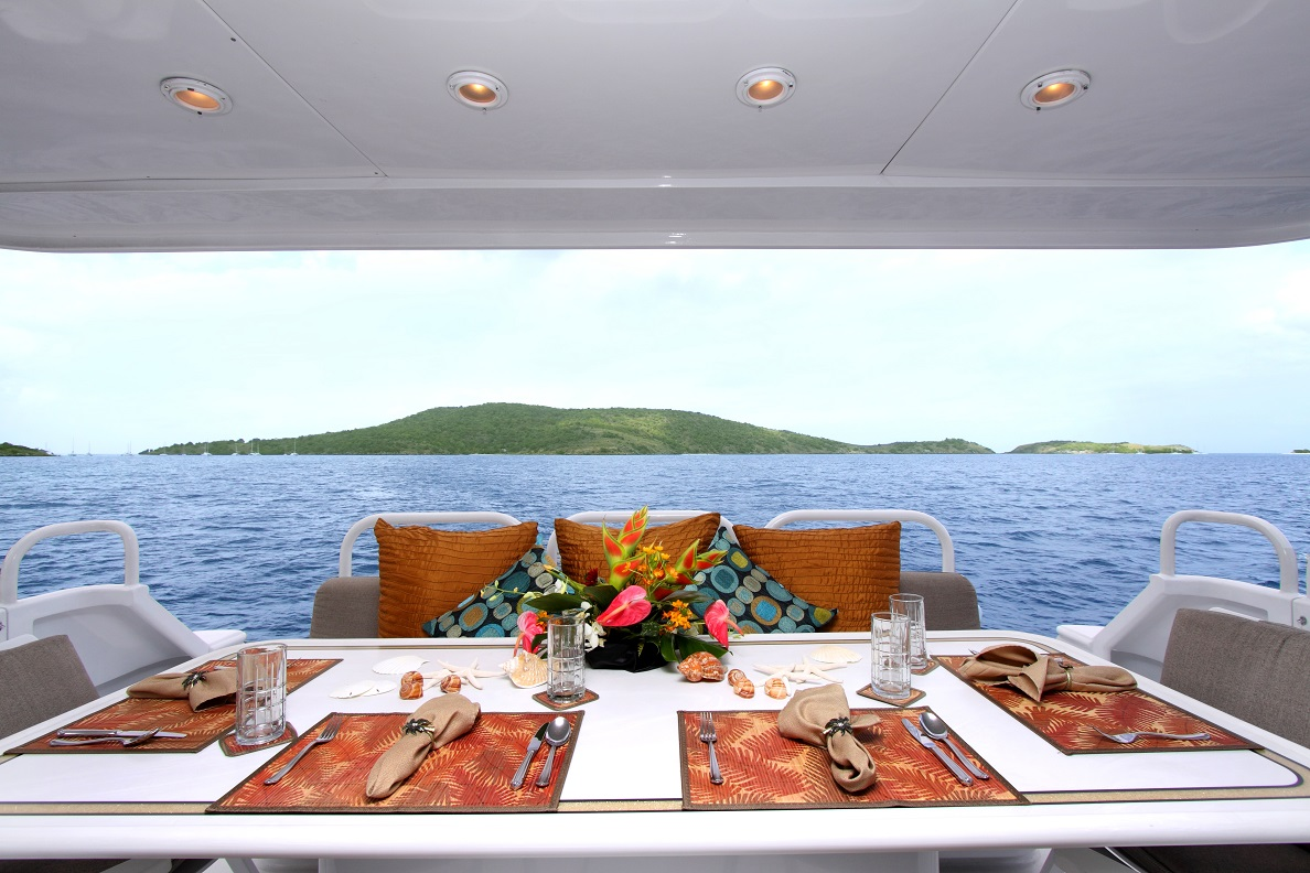 Luxury Charter Yacht Insatiable Aft Deck Al Fresco Dining